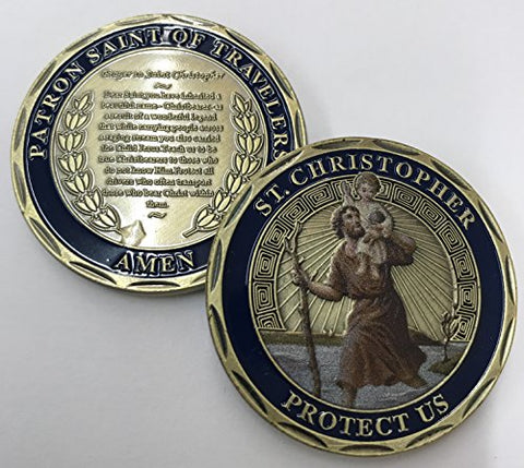 St. Christopher  Patron Saint Of Travelers  Challenge Coin. Cast With Colorized Saint And Beautiful Iron Plating &Amp; Ancient Bronze