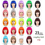 Leeons 12  Cosplay Short Purple Wig Full Straight Flat Bangs Bob Synthetic Hair Wig For Women Halloween Costumes Party