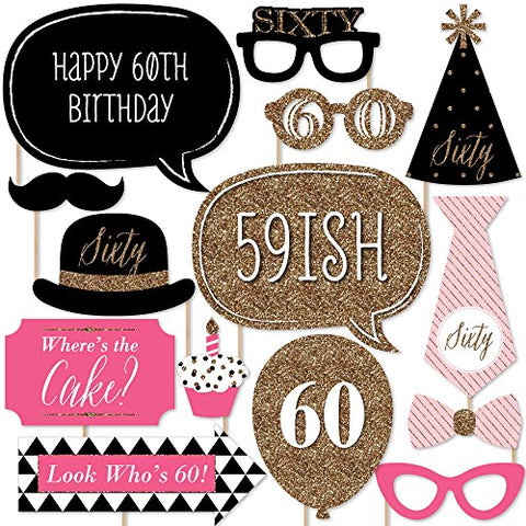 Big Dot Of Happiness Chic 60Th Birthday - Pink, Black And Gold - Photo Booth Props Kit - 20 Count