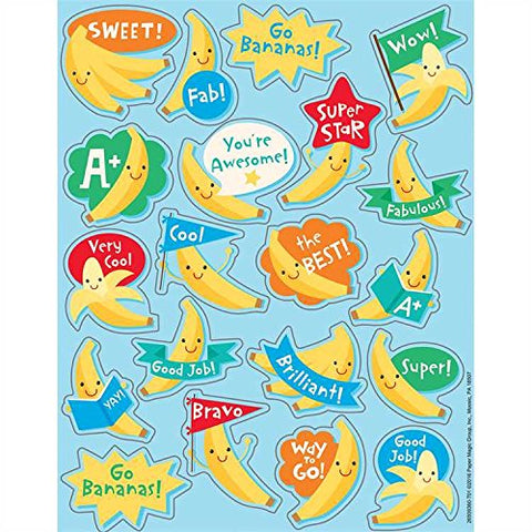 160 Banana Fruit Scented Stickers - 8 Sheets Of 20 -Motivational Rewards Education Classroom Party Favors Teacher