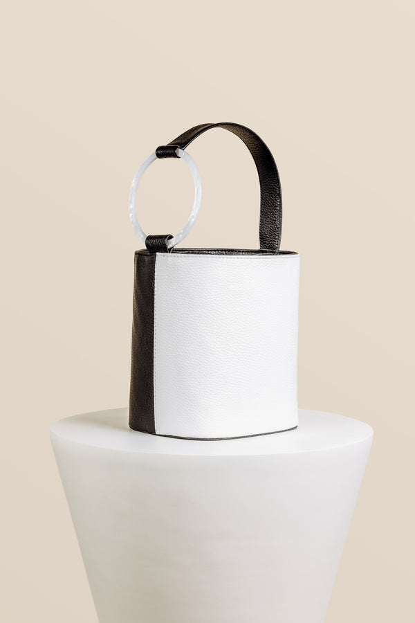 Kai Bucket Bag - Black & White