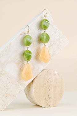 Emma Earring - Jade & Yellow Quartz