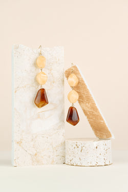 Emma Earring - Yellow Quartz & Tortoise