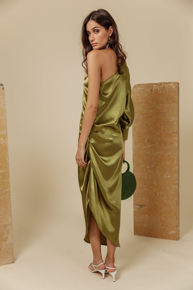 Fellah Shoulder Dress - Olive