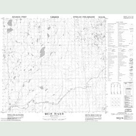 Canadian Topo Map - Weir River - Map 054D16