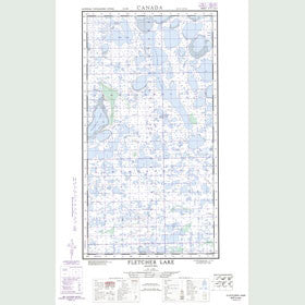 Canadian Topo Map - Fletcher Lake - Map 054K04W