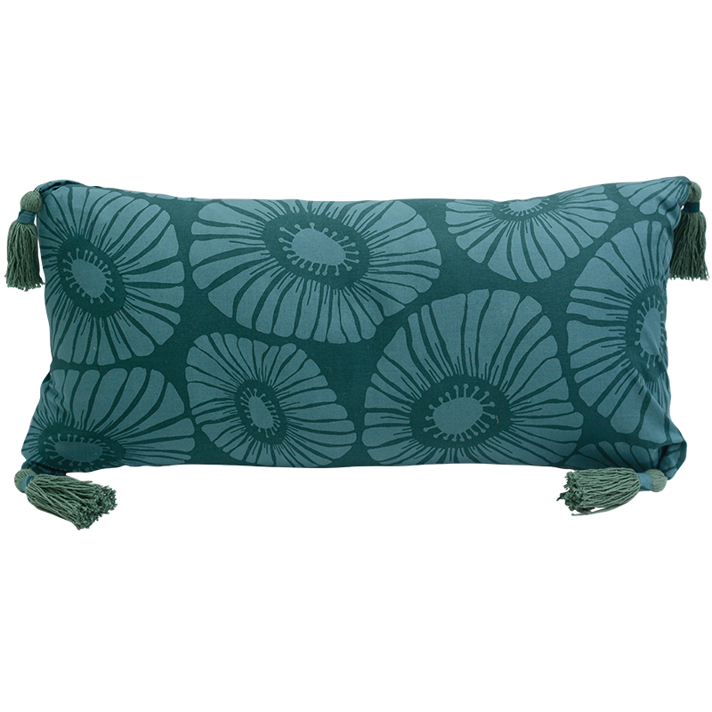 Cushion Cover Tasseled Long | Retro Flowers Dark Teal (set of 2)