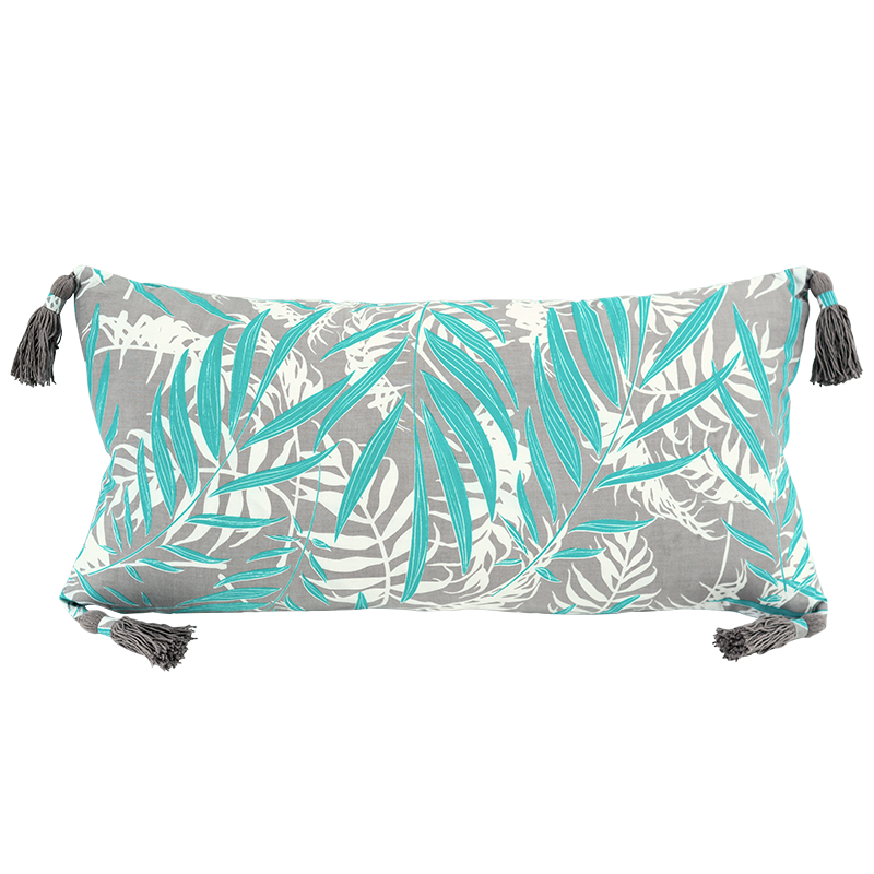 "Cushion Cover Tasseled Long | Turquoise Grey Palm 30x60cm/12x24""(set of 2)"