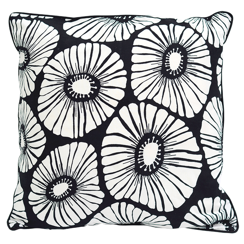 "Cushion Cover | Retro Flowers Black & White Medium 45cm/18"" (set of 2)"