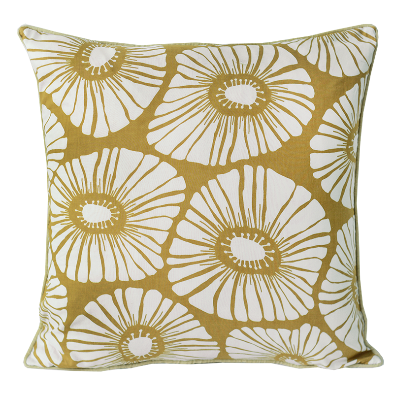 "Cushion Cover | Retro Flowers Caramel Medium 45cm/18"" (set of 2)"