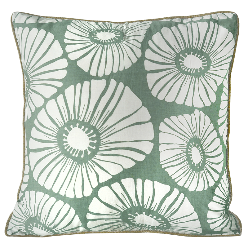 "Cushion Cover | Retro Flowers Lychen Medium 45cm/18"" (set of 2)"