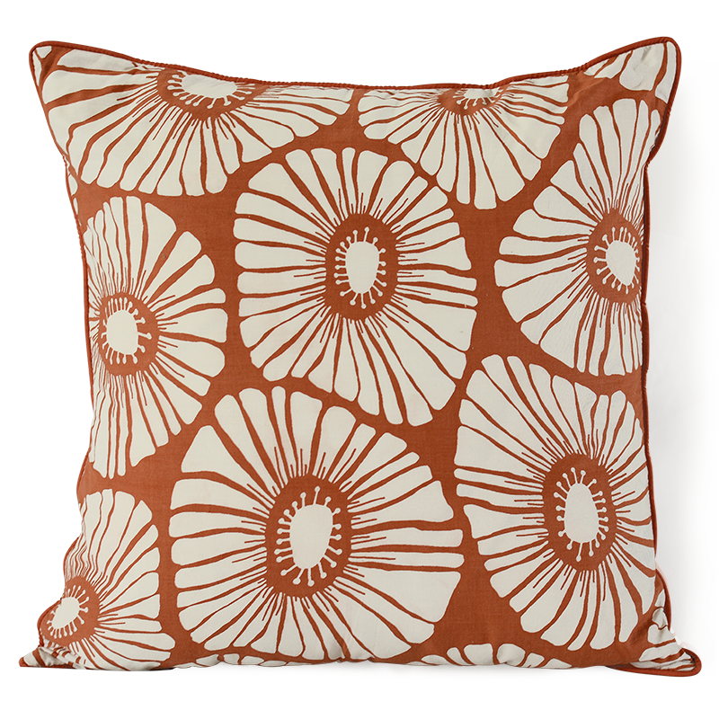 "Cushion Cover | Retro Flowers Spice Medium 45cm/18"" (set of 2)"