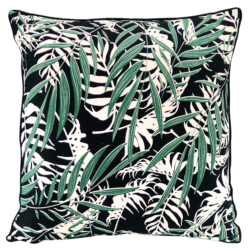 "Cushion Cover | Palm Black Emerald Medium 45cm/18"" (set of 2)"