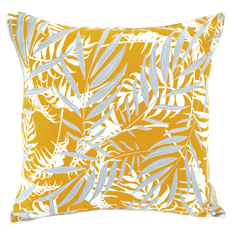 "Cushion Cover | Palm Turmeric Faun Medium 45cm/18"" (set of 2)"