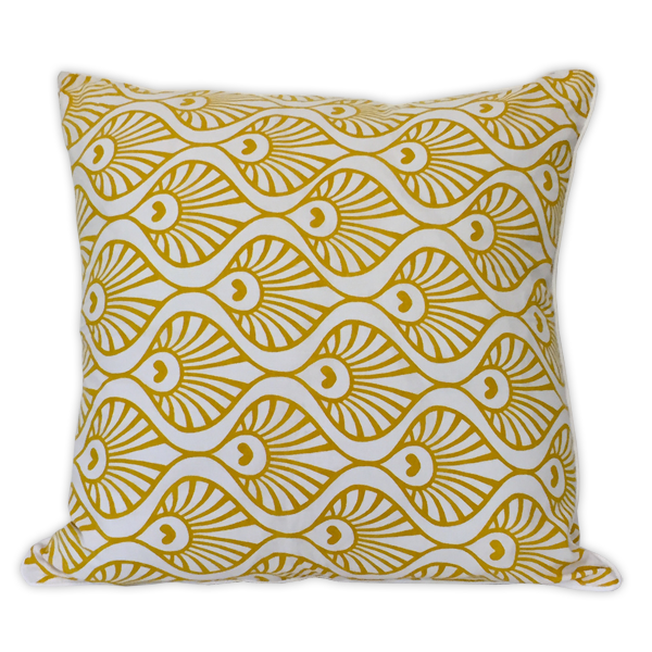 Cushion Cover - Citrus Yellow Peacock Wave Medium