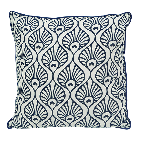 Cushion Cover | Peacock Wave Indigo (medium)