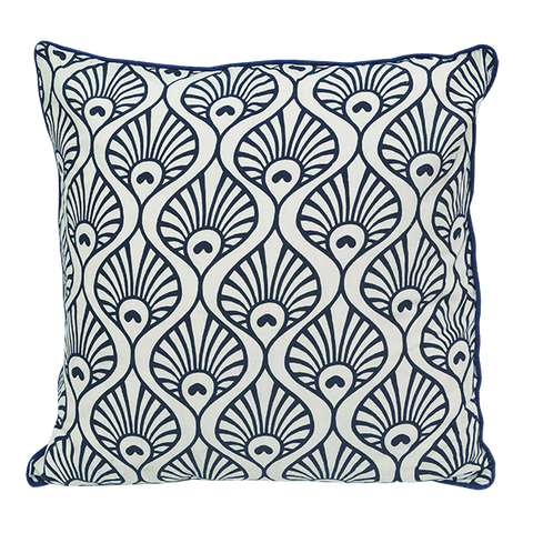 Cushion Cover - Indigo Peacock Wave Medium