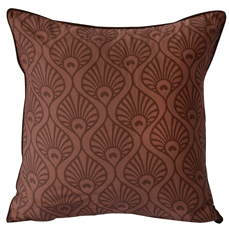 "Cushion Cover | Peacock Wave Wine Medium 45cm/18"" (set of 3) - sale"