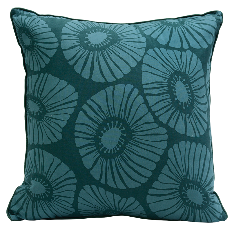 Cushion Cover | Retro Flowers Dark Teal (medium-large)