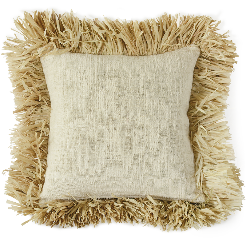 Cushion Cover | Natural Linen Fringe Cushion Cover (Med-Large) 50cm/20""