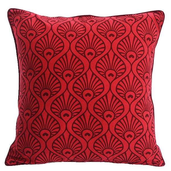 Cushion Cover - Red Maroon Peacock Wave Medium-Large