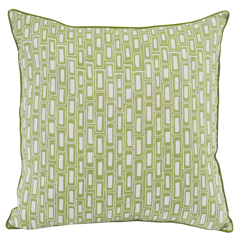 Cushion Cover | Rectangles Sage (medium-large) 50cm/20""