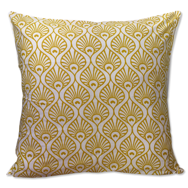 Cushion Cover - Citrus Yellow Peacock Wave, Large