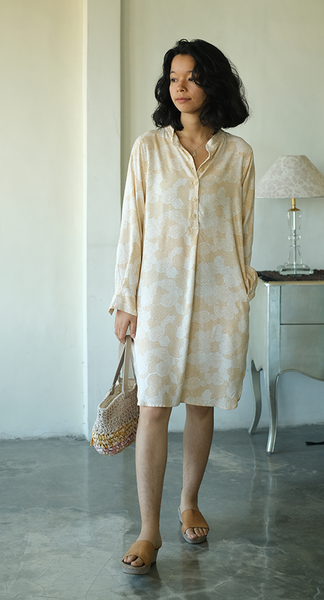 Blouse Dress | Spring Flowers Beige (3 sizes) - SALE