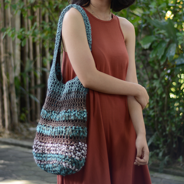 Crocheted Barbara Shoulder Bag Teal Brown