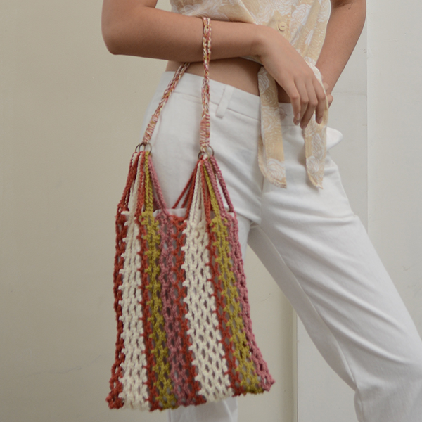 Crocheted Mesh Bag | Striped Warm Tones