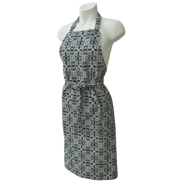 Sustainable kitchen ware - our batik navy apron, hand made in Bali and printed with eco-friendly, seaweed based inks.