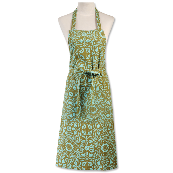 Kitchen Apron - Classical Olive Aqua Prada