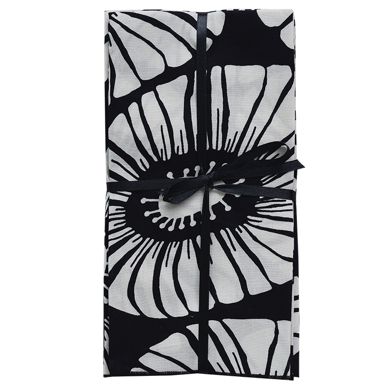 Napkins | Retro Flower Black & White (set of 8)