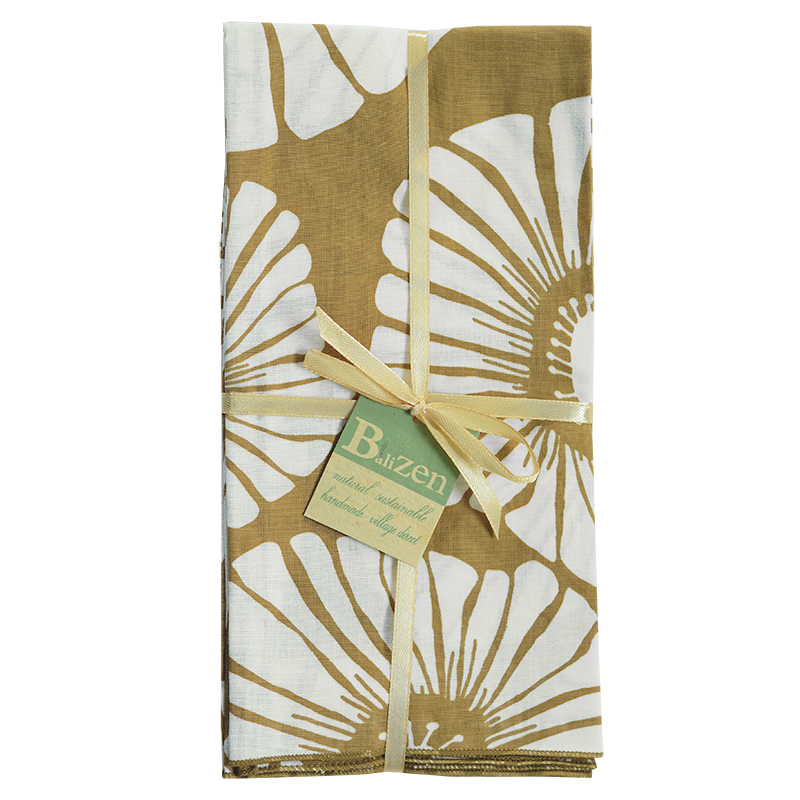 Napkins | Retro Flowers Caramel (set of 8)