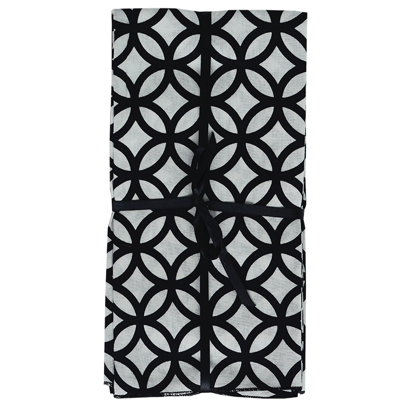 Napkins | Rings Black & White (set of 8)