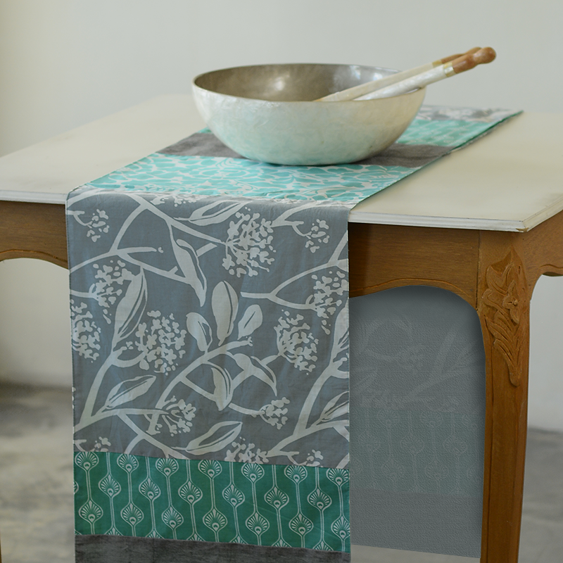Table Runner | Cotton Grey Frangipani (long)