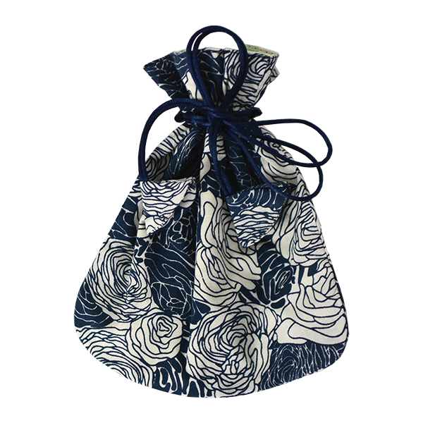 Drawstring Bag | Spring Flowers Indigo (small)
