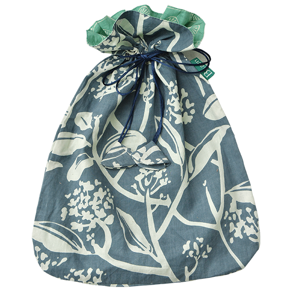 Drawstring Bag | French Blue Frangipani Large (set of 2)
