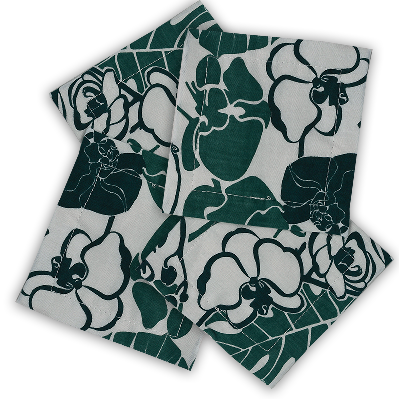 Cotton Coasters | Orchid Emerald (set of 8)