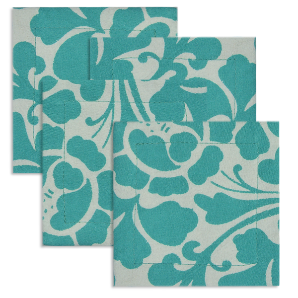 Cotton Coasters | Prada Turquoise (set of 4)