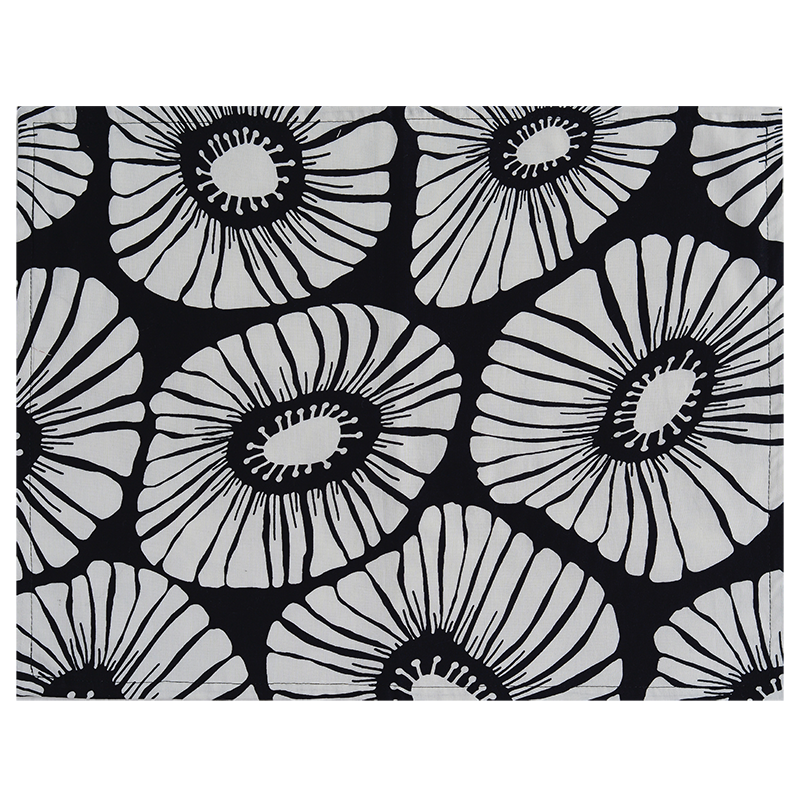 Cotton Placemat | Retro Flowers Black (set of 4)