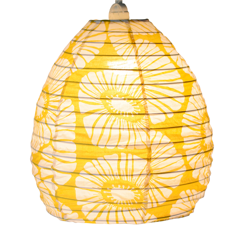 Hanging Lampshade | Retro Flowers Yellow Beehive