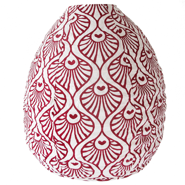 Hanging Lampshade - Red Maroon Peacock Wave Beehive