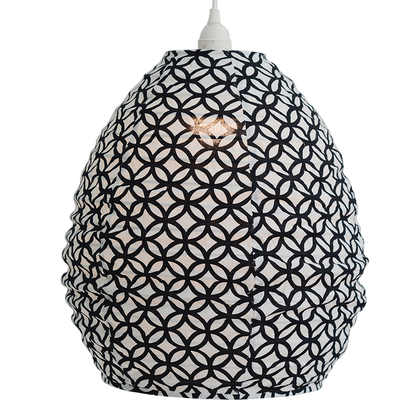 Hanging Lampshade | Rings Black & White Beehive