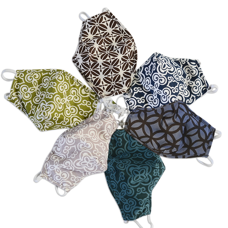 Three Layer Cotton Masks | Assorted Geometrics set/2 (2 sizes)