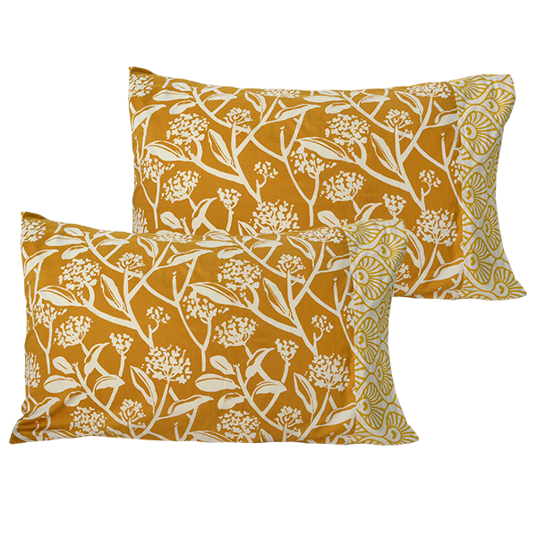 Pillow Case set of 2 | Turmeric Frangipani