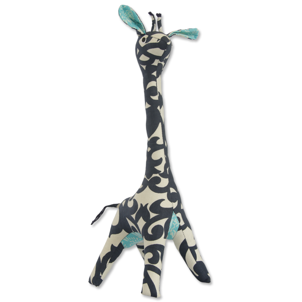 Little Scrappy Patchwork Giraffe, 2 Sizes - Indigo