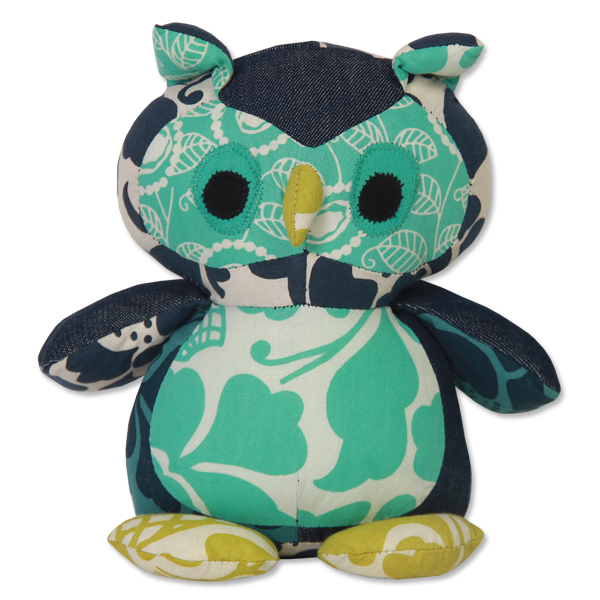 Scrappy Patchwork Baby Owl - Cool