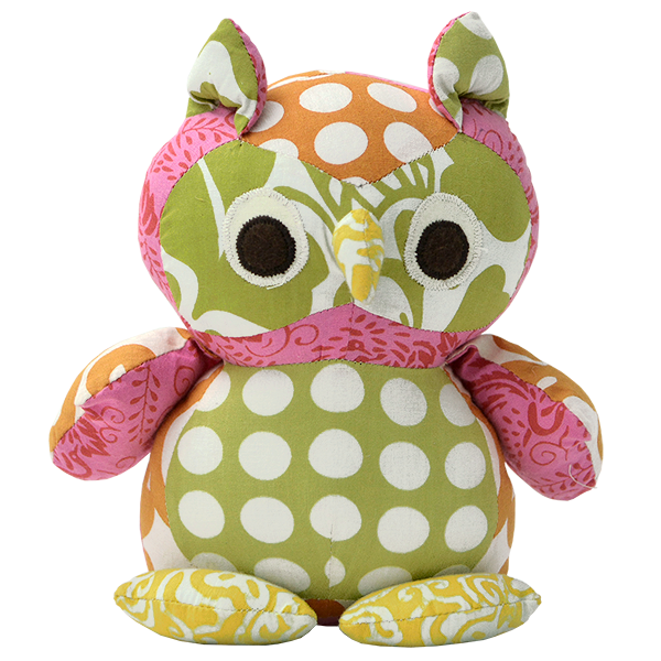 Scrappy Patchwork Baby Owl - Bright