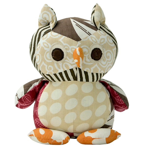 Scrappy Patchwork Baby Owl - Fall